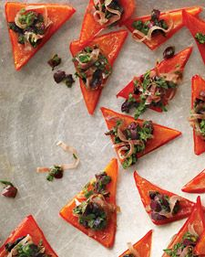 Red Pepper Triangles with Italian Relish (Breadless Appetizer)