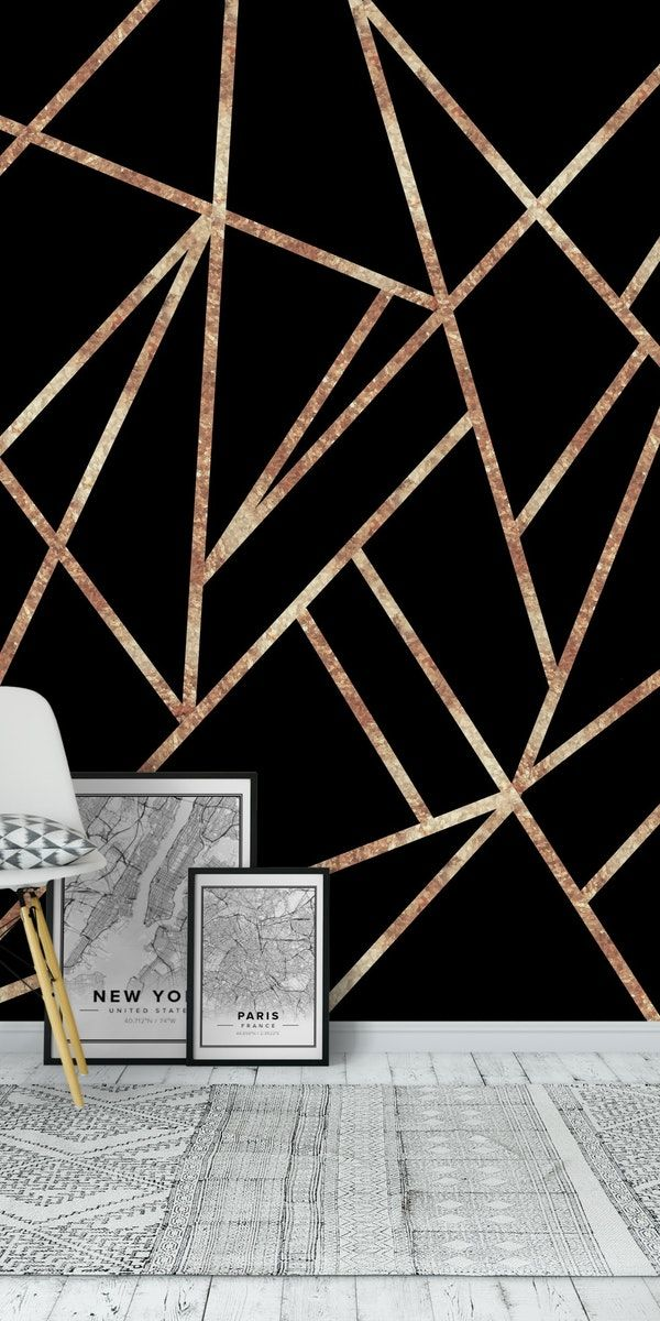 Classic Black Rose Gold Geo 1 Wall Mural From Happywall Artdeco Rosegoldblack Wallmural R Gold Accent Wall Geometric Wall Paint Rose Gold Bedroom Wallpaper