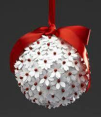 Hozzávalók: Hungarocell gömb Szines gombostű Feher színű papír Virag lyukasztó Szatén masni Lyukasztóval apro virágokat készítek melyeket a gomostűvel rögzítem a gömbhöz.Masnit helyezek a tetejére.