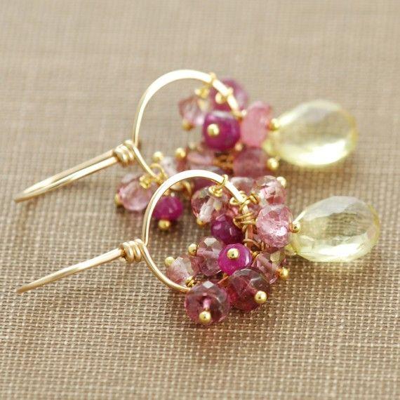 Aretes de oro amarillo rosado de piedras preciosas, cuarzo limón Rosa zafiro turmalina, pendientes hechos a mano