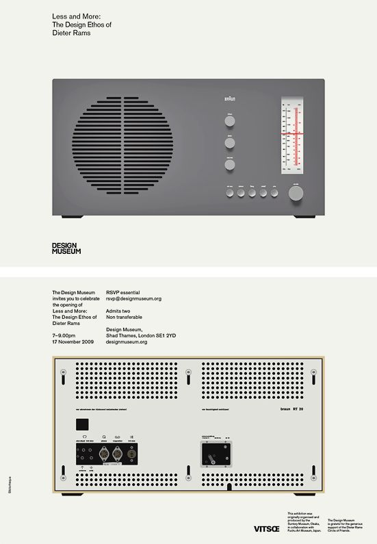 Invitation to the opening of the 2009 Dieter Rams retrospective at the Design Museum, London, by Bibliothèque Design