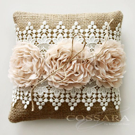 Shabby Chic Burlap Pillows : Rustic / Shabby Chic Burlap Ring Pillow with Peach by Cossara, USD16.90 Shabby chic Pinterest ...