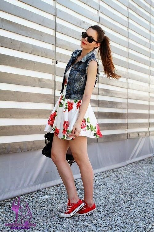 Teens and Women Outfits with Red Converse / summer 2014