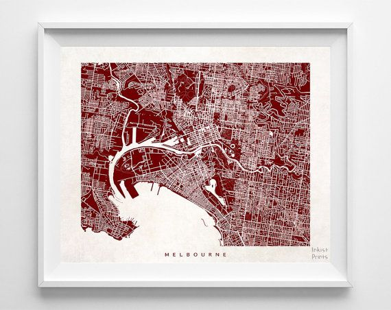 Melbourne Map Australia Poster Print Beautiful by InkistPrints - $19.95 - Shipping Worldwide! [Click Photo for Details]