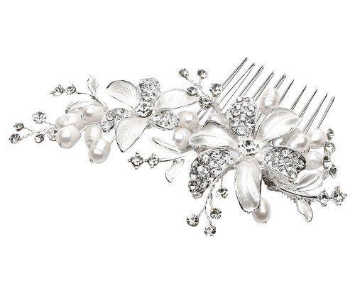 Wedding Pearls Flower Blossoms Rhinestones Decorative Hair Comb by AMC, http://www.amazon.com/dp/B00CGUYL98/ref=cm_sw_r_pi_dp_2Ql3rb0Z56E90