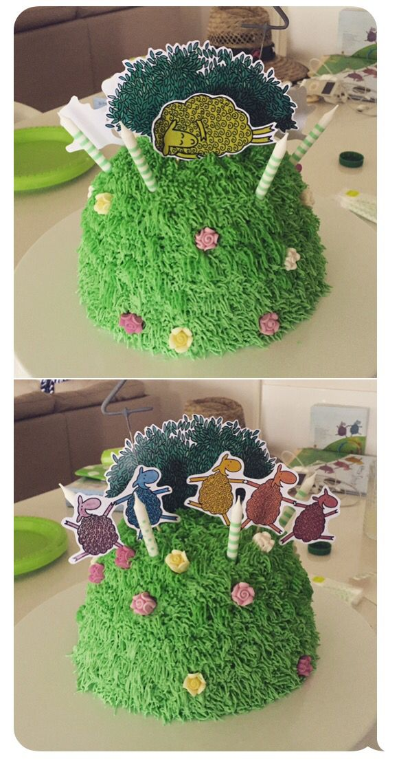 "Where Is The Green Sheep birthday cake ""Turn the cake quietly let's take a peek..."""