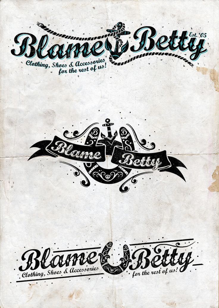 """The great folks at Blame Betty in Calgary asked me to redesign their brand identity with some new logos to be used on the online marketing, and store windows etc.  They wanted to keep the font they had already been using but needed a new, fresh """"pazzaz"""" on the original design.  I had a blast doing it and if you're ever in Calgary make sure you pop in to their store and get yourself some fine threads.  www.bofagroup.com"""