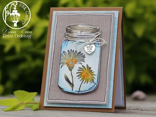 scrapbooking card, stamps, jar