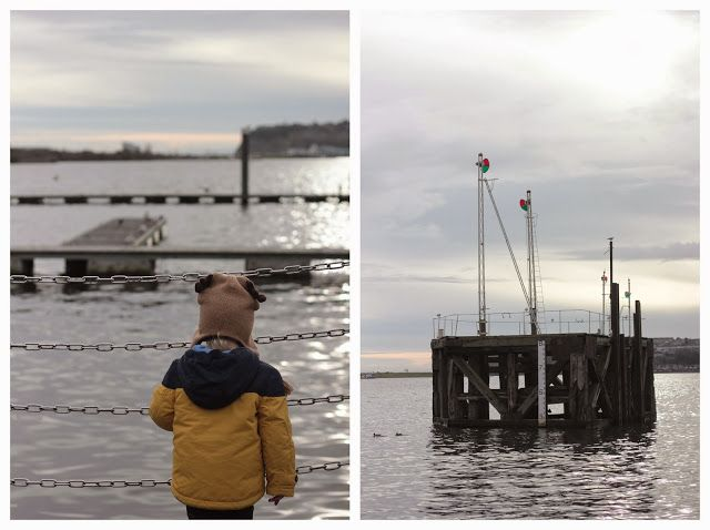 Having fun outdoors on a crisp winter day watching the boats come in in Cardiff Bay with the little man