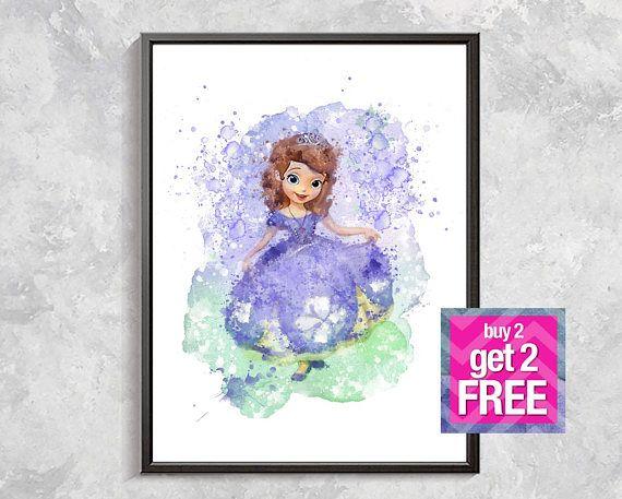 Princess Sofia print, Sofia the First watercolor, Disney watercolor, Birthday party Princess Sofia, Princess Sofia artwork, Girl room decor