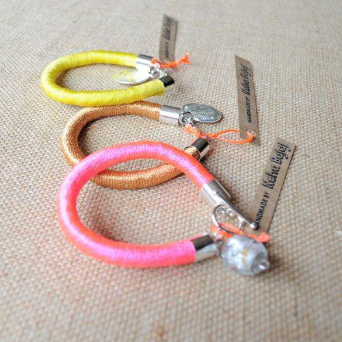NEON Cord Wraaped Bracelets  Bright Colours by HandmadeByNehaBajaj