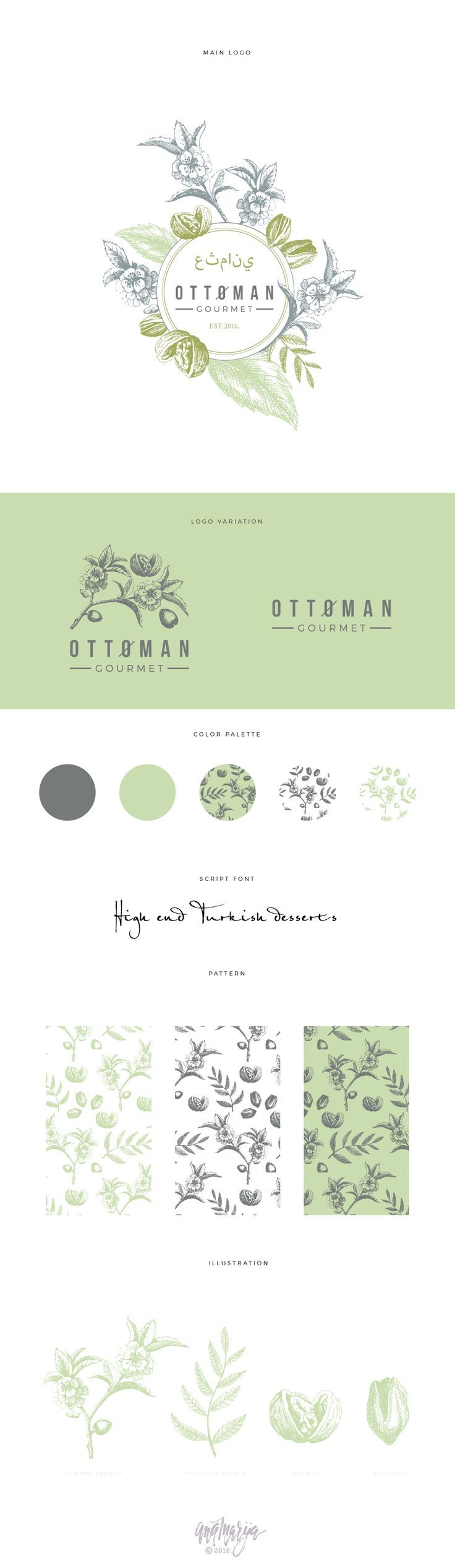 Logo proposal with brand development for Turkish sweets shop. It has handdrawn botanical parts which are planned to use for packaging and other promo material. I also made a seamless pattern which can be used on every surface.