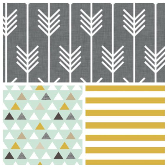 Crib bedding set -  baby boy crib bedding in golden yellow gray arrows triangles on Etsy, $25.00