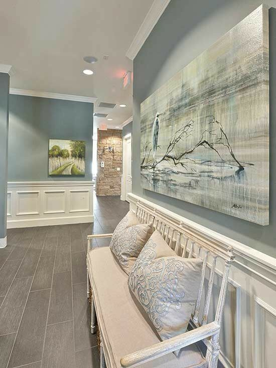 Gorgeous hall,  color by Ben Moore. So tranquil and calming.  #benmoore #paint #calming #tranquil #getaway #inspiration #design #interiordesign #designcenter #window #homeimprovement #homeowner #hallway #bench #relax #Exeter #epping #seabrook