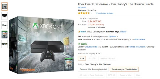 Xbox One 1TB Console - Tom Clancy's The Division Bundle Price in India on Flipkart, Amazon | Lowest Price Online in India