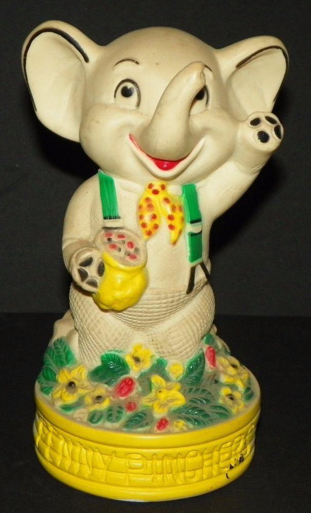 Vintage Elephant Penny Pinchers Bank 6.75 Inches Tall Pressman 1975 #Pressman