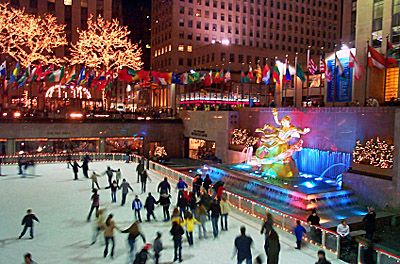 I really want to ice skate here one day! Rockefeller Center in New York City.