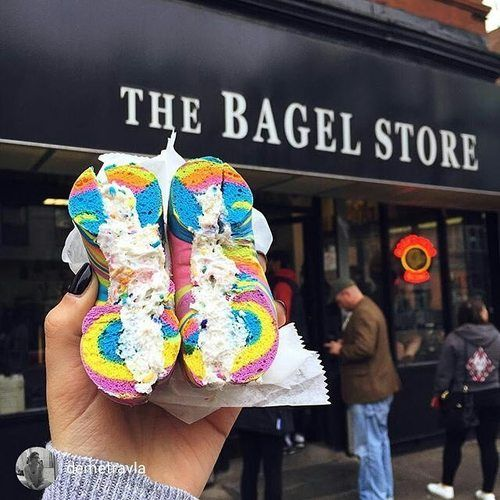 The Bagel Store in NYC - can get custom bagels in any color!
