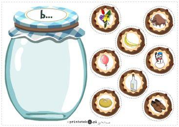 Słój z ciasteczkami z głoską [b] - pozycja głoski w wyrazie - Printoteka.pl