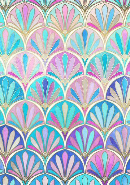 Glamorous Twenties Art Deco Pastel Pattern Art Print || Micklyn