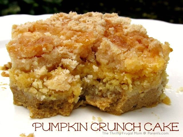 Pumpkin Crunch Cake- an easy pumpkin dessert that is absolutely addictive.  A soft pumpkin-y bottom layer paired with a sweet crunchy topping makes it just perfect!
