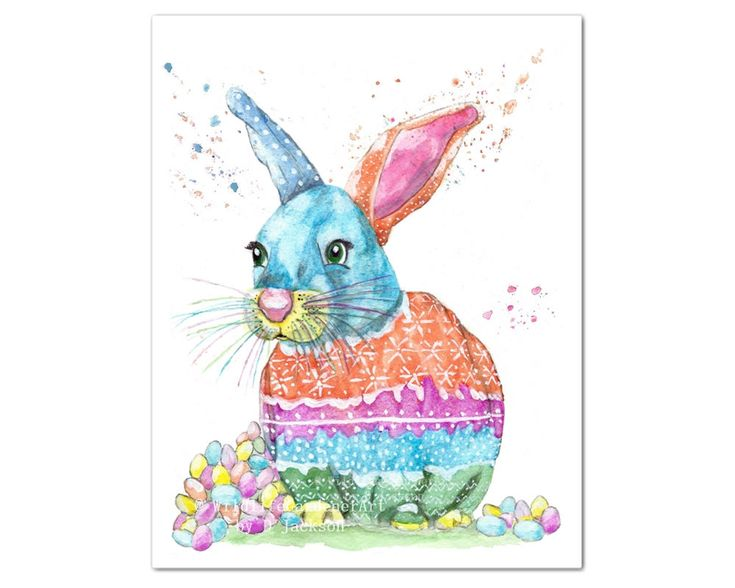 The latest addition to my #etsy shop: Easter Bunny Watercolor Art Print, Colorful Easter Decor http://etsy.me/2CzmL52 #WildlifeGardenerArt