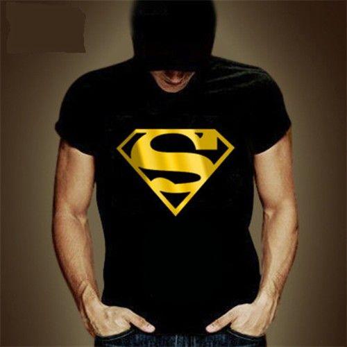 Golder Superman Logo Print Short Sleeve Unisex T Shirt