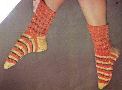 Červenožluté ponožky   PLETENÍ – NÁVODY