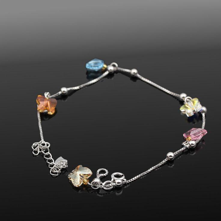 Love Halhal - Avusturya kristali - Swarovski taşlar - Altın kaplama - Aksesuar - Halhal - Dalya Takı - Austrian Crystal - Swarovski stones - Gold plated - Rose gold - Accessory - Anklet