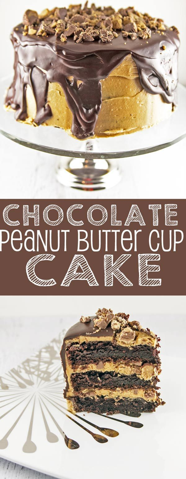Chocolate Peanut Butter Cup Cake: Chocolate cake, peanut butter frosting, chocolate ganache, and lots of peanut butter cups. Outrageous! {Bunsen Burner Bakery}