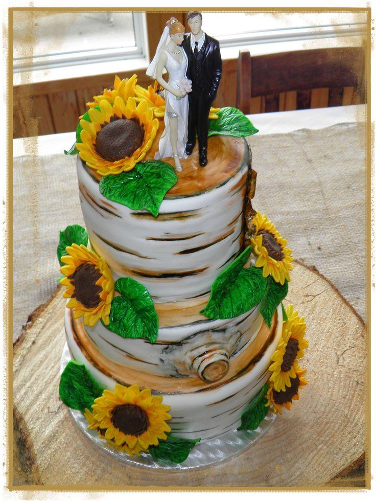 3 tiers Wedding cake; birch tree slices with sunflowers