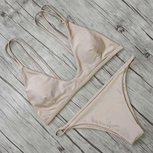 Bikini New Arrival Swimwear Women Bikini Set Cross Bandage Beach Bathing Suit Top Low Waist Swimsuit Push Up Brazilian Suit