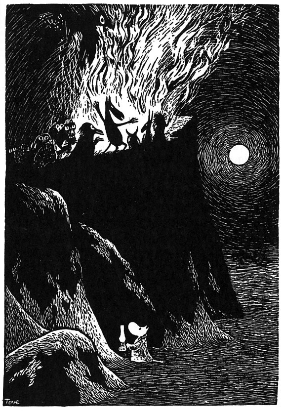 1957: An illustration from Tove Jansson's 'Moominland Midwinter'    http://www.1972projects.blogspot.com