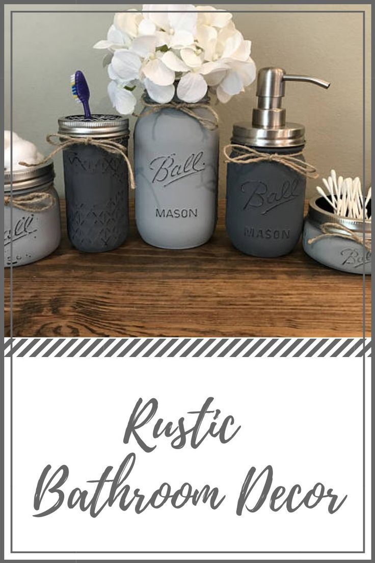 Looking for a unique, yet popular rustic bathroom decor? This  rustic mason jar is perfect to give your bathroom  appearance in style.  #farmhousedecor  #ad #bathroomdecor #rusticbathroomdecor #rusticmasonjar #ad