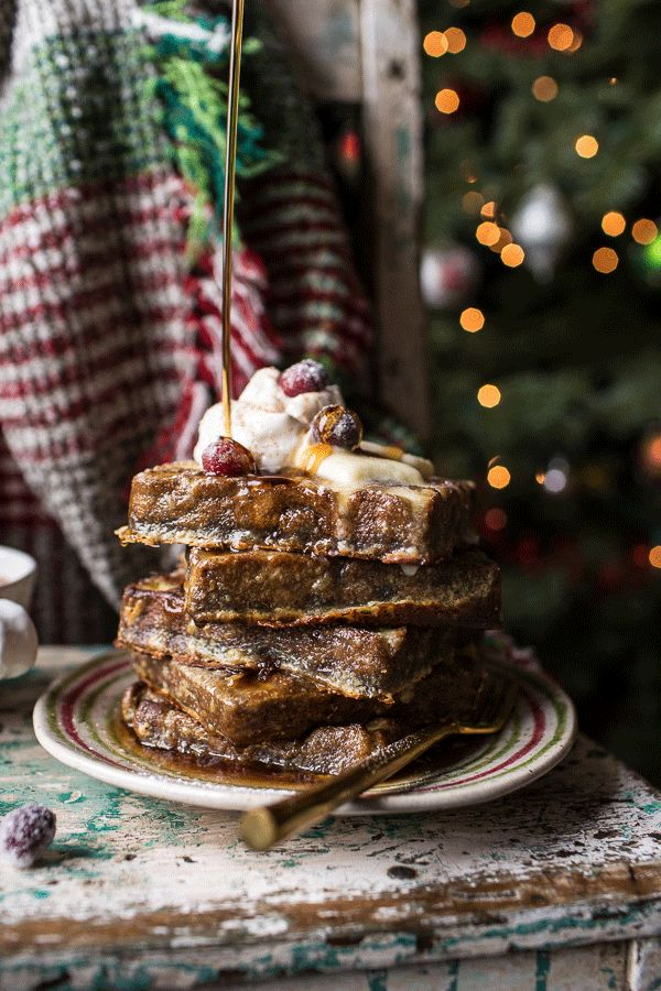 Baked Gingerbread Custard Waffle French Toast (VIDEO) | halfbakedharvest.com @hbharvest