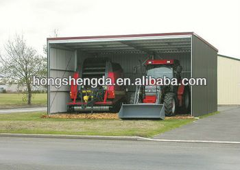 prefabricated steel metal flat roof tractor shed