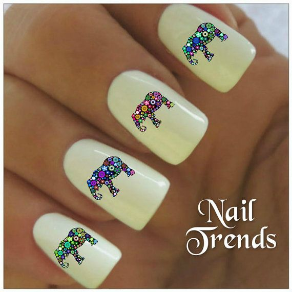 Elephant Vinyl Nail Stickers, Nail Art Decals