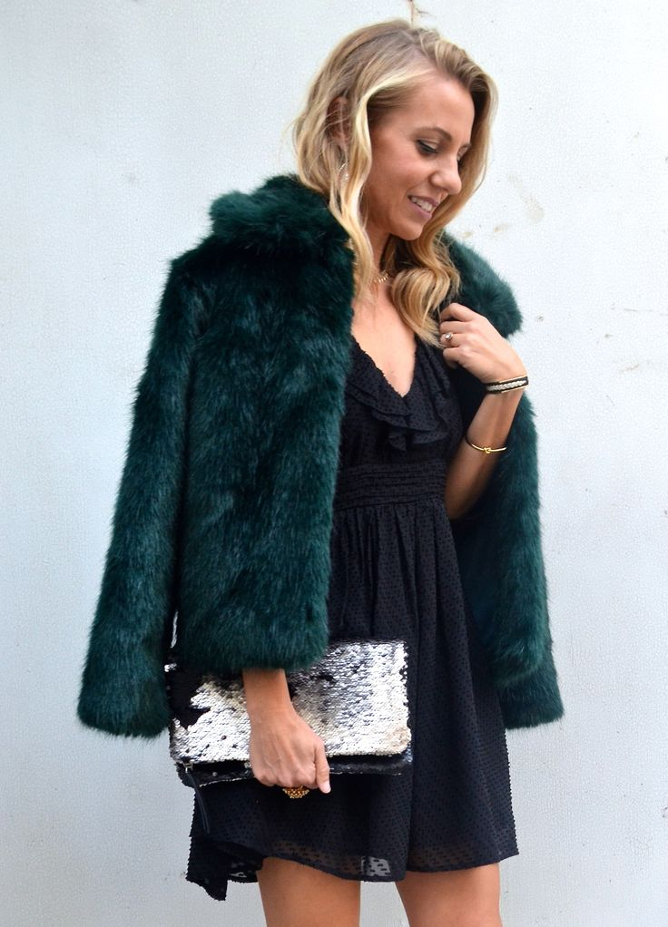 6 OUTERWEAR STYLES I'M LOVING THIS WINTER - Jaclyn De Leon Style faux fur jacket + emerald green coat + dress up a LBD + what to wear + street style + winter wedding style + shop my closet + winter style + dress up + fall fashion + stella & dot style