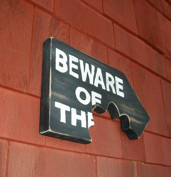 Beware Dog Sign Plaque Distressed Wood Chomp Teeth by CoolDogDuke. etsy.