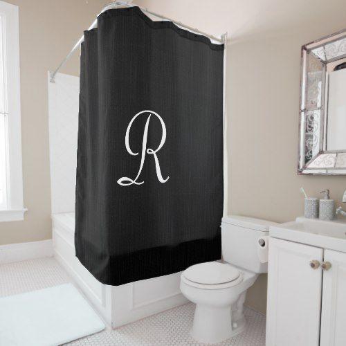 Black Faux Burlap Shower Curtain White Monogram