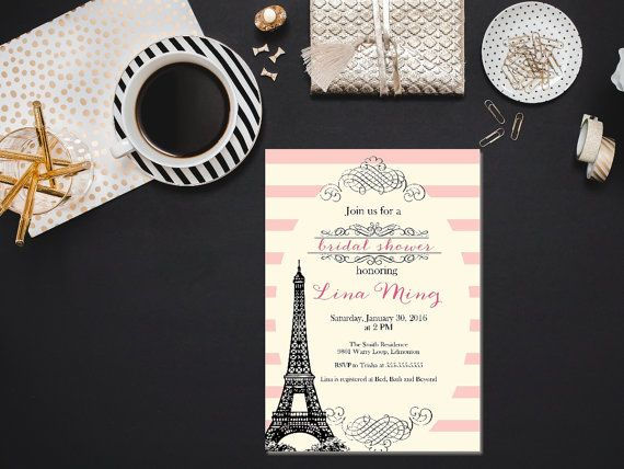 Parisian bridal shower invitation / Printable bridal shower invitation/ Blush bridal shower invitation/ Elegant bridal shower invitation by PrettyPrintablesInk