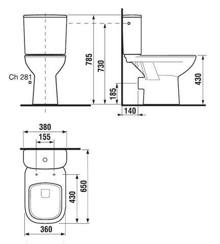 Stojaci WC kombi Jika Deep, zadný odpad, 65cm