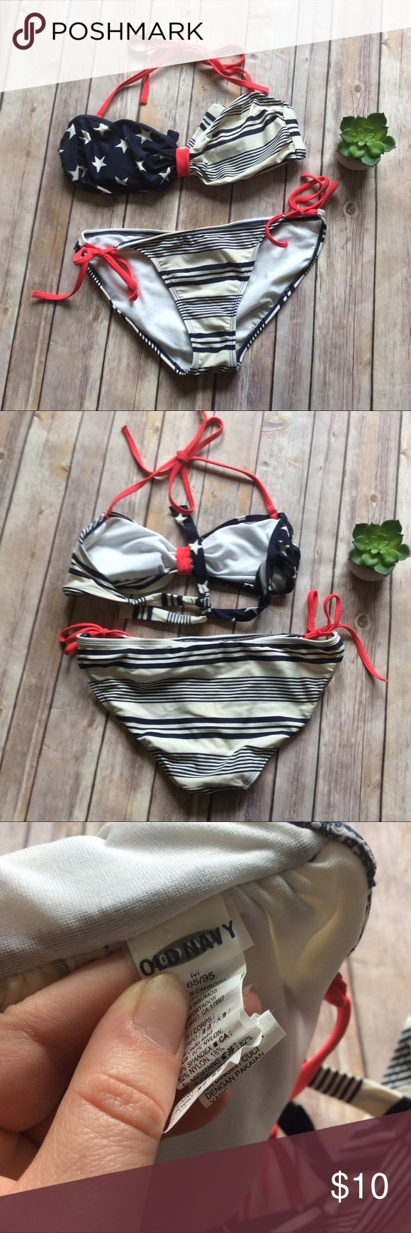 Old Navy Bikini size Medium Cute Stars and Stripes Bikini set from Old Navy, there are a couple spots with very minor scuffs but they are barely noticeable ❌no trades, holds, or lowball offers. ✅Clean and smoke free home, quick shipping, bundle discount, always! 🎁Free gift with $15+ bundle. Old Navy Swim Bikinis
