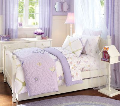 bird themed bedroom   Pretty purple and white bedroom for little girls. This basic bedroom ...