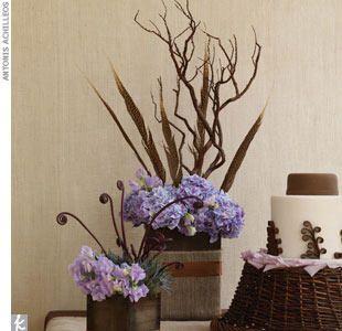 Lavender, chocolate and cream centerpieces