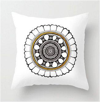 Leo Mandala Pillow case Sacred geometry cushion by GoldenAcaciaArt, $32.00
