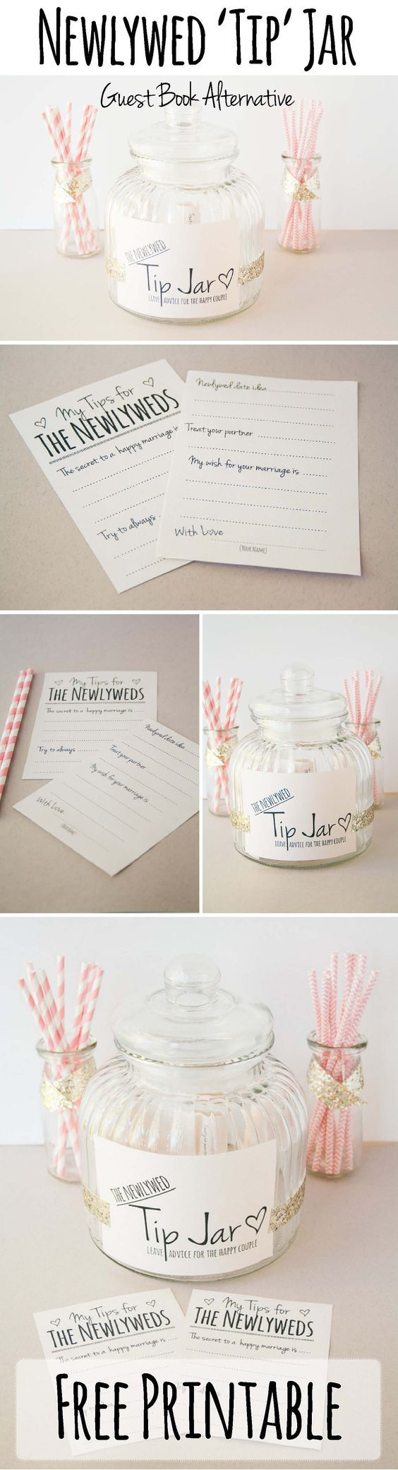 "Newly Wed Tip Jar www.confettidaydr… Here's how to make this cute Tip Jar for your wedding as an adorable guest book alternative! DIY Guest Book Alternative: Newlywed Advice ♥ DIY Newlywed 'TIP' Jar Guest Book Alternative Time to Complete: Less than 15 minutes Skill Level: Very Easy The Newly Wed Tip Jar is a fun … Continue reading """"Leave Us A Tip"" Jar – FREE PRINTABLE guestbook alternative"""