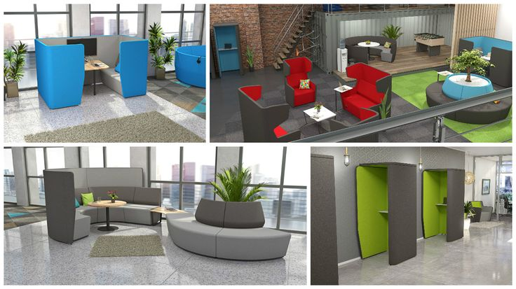 You can create an entire office out of our large range of booths, choose different colour combinations and whatever shapes best fit in your office space.  http://casestudies.jpofficeworkstations.com.au/