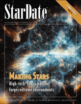 StarDate Online:  This educational site includes stargazing and planet viewing tips, a sky almanac, FAQ, news, images, an Astroglossary, and solar system, constellation, star, and galaxy guides. Other resources include their StarDate radio program and magazine (archived back to 1997). Also available in Spanish as Universo Online. From the University of Texas McDonald Observatory.