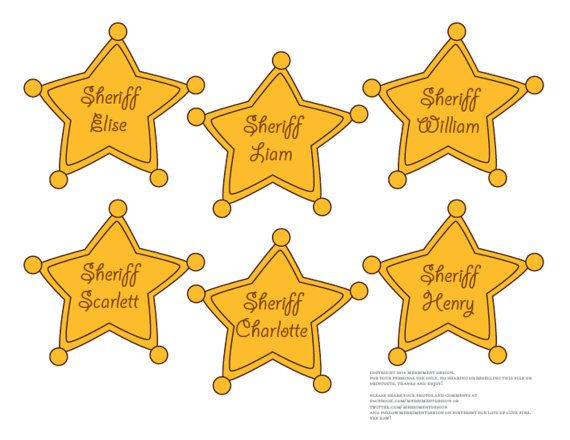 EDITABLE Sheriff Badges printable PDF for Cowboy or Toy Story Birthday Party (large & small sizes for guests, food table markers) comes in three different fonts to choose